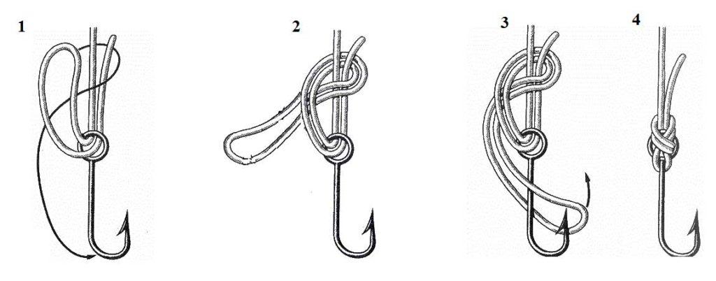 как привязать леску к крючку калифорнийским узлом