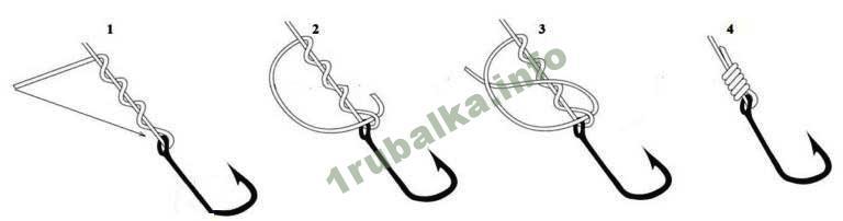 как завязывать крючок на леску узлом клинч