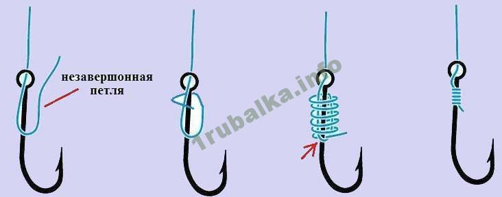 как завязывать крючок на леску узлом веретено
